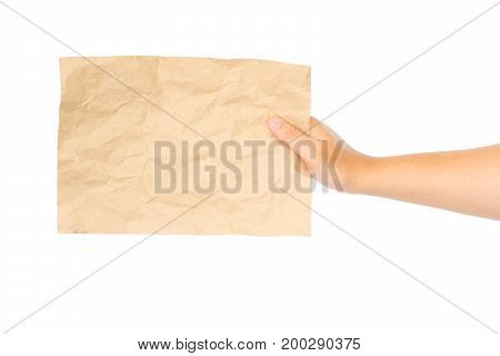 close up of a hand holding blank note isolated on white background