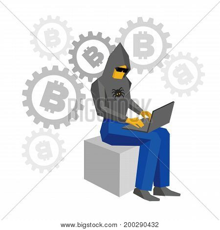 Computer hacker sitting with laptop. Gears with bitcoins behind. Man in black hoody with spider and dark glasses working with computer. Cyber crime concept, cryptocurrency - flat vector illustration.