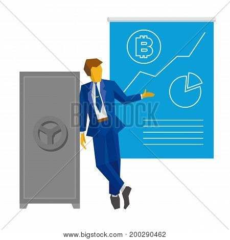 Businessman stands near the closed safe and show poster with bitcoin and growing chart. Success concept - cryptocurrency, strategy, increase profit. Simple flat vector clip art on white background.
