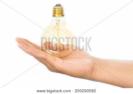 LED light bulb (lamp) in hand Isolated on white background