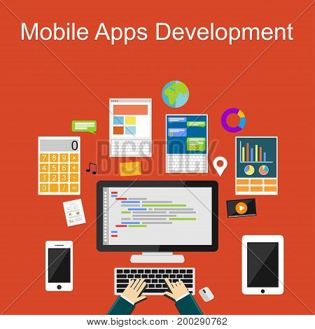 Flat design illustration concepts for mobile apps development, programming, application development, coding. Application development concept