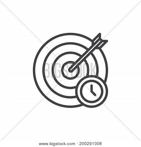 Target and arrow with clock line icon, outline vector sign, linear style pictogram isolated on white. Goal symbol, logo illustration. Editable stroke. Pixel perfect vector graphics