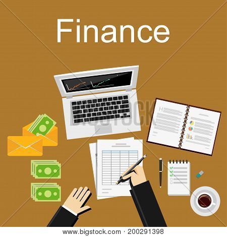 Finance concept illustration. Flat design illustration concepts for business planning, finance accounting, business statistics, working investment.
