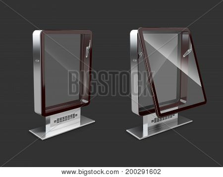 Closed And Open Billboards With Transparent Glass, Isolated Black, 3D Illustration