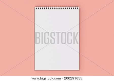 Blank white notebook with metal spiral bound on red background. Business or education mockup. 3D rendering illustration