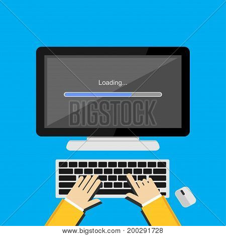 Illustration concept for progress loading bar, loading process, installing progress.