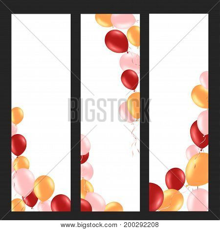 Vertical banner with colorful helium balloons. Frame composition with space for your text. Useful for announcement poster flyer greeting card