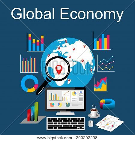 Global economy, world economy, marketing analytic. Business statistics concept illustration.