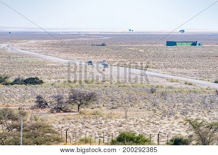 ETOSHA NATIONAL PARK NAMIBIA - JUNE 24 2017: The view from the watchtower in the Okaukeujo Rest Camp in the Etosha National Park towards the north