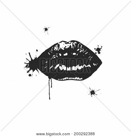 Vector black gloss lips with watercolor spots isolated on a white background