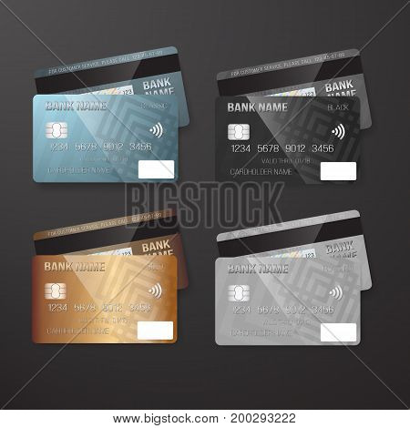 Illustration of Vector Realistic Credit Card Template Set. Bank Card Mockup