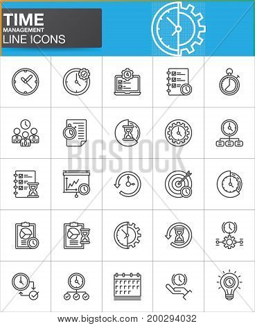 Time management line icons set, outline vector symbol collection, linear style pictogram pack. Signs, logo illustration. Set includes icons as timer, stopwatch, clock, time management, history, backup