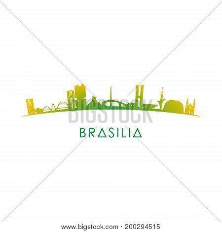 Brasilia skyline silhouette red vector design on white background.