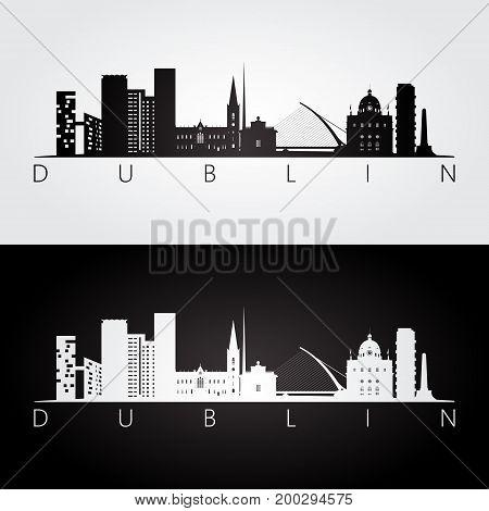 Dublin skyline and landmarks silhouette black and white design vector illustration.