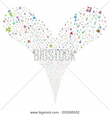 Chemistry Symbols source stream. Vector illustration style is flat bright multicolored iconic chemistry symbols symbols on a white background. Object fountain combined from random symbols.