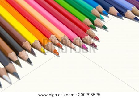 color pencils on white background tools for paint