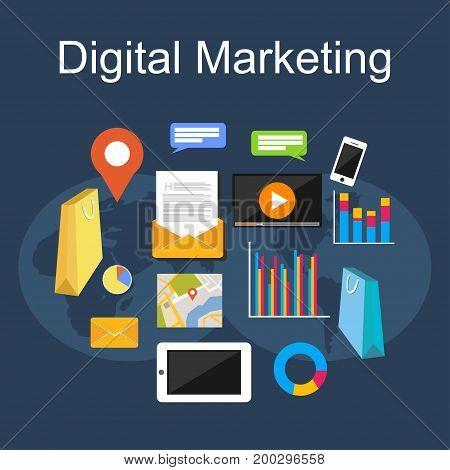 Digital marketing illustration. Flat design illustration concepts for internet, digital media, internet marketing.
