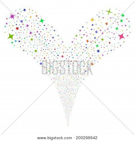Confetti Stars source stream. Vector illustration style is flat bright multicolored iconic confetti stars symbols on a white background. Object fountain created from random pictographs.