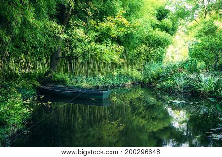 Claude Monet in autumn garden, boat in the lake among the bamboo groves, Giverny, France