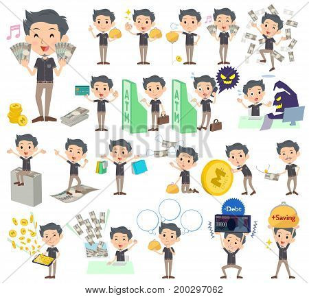 Set of various poses of Black shortsleeved shirt Short beard man_money