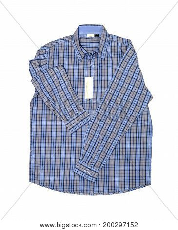 The mens chequered shirt on a white background closeup