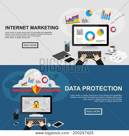 Banner for internet marketing and data protection. Flat design illustration concepts for finance, business statistics, data analysis, internet marketing, data protection, data security, internet security.