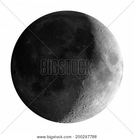 Waxing Crescent Moon Seen With Telescope, Isolated