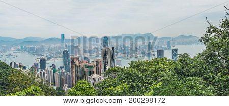 Big panorama of Hong Kong skyline. View from Victoria Peak.