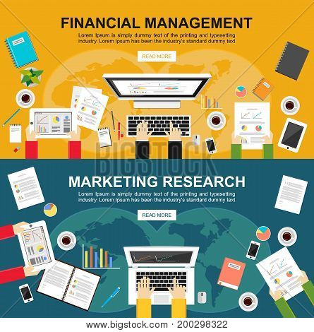 Banner for financial management and marketing research. Flat design illustration concepts for finance business management, analysis marketing, business solution, teamwork, business statistics