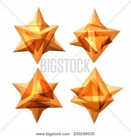 Vector Set Of Views Of Transparent Complex Geometric Shape Based On Tetrahedron. Four Types Of Persp