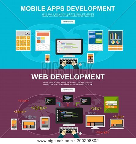 Flat design illustration concepts for mobile apps development, web development, programming, programmer developer, application development, coding responsive web design.