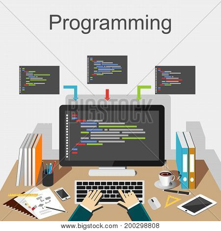 Programming illustration. Programmer working place illustration concept. Flat design illustration concepts for application development, coding.