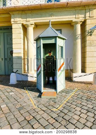 Budapest, Hungary - January 3, 2015: Guard in front of the Presidential Palace, at the Hungarian Royal Castle, Budapest, Hungary on January 3, 2015: