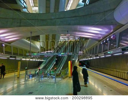 Budapest, Hungary - January 5, 2015: The Kalvin station from the new Metro line 4 in Budapest, Hungary on January 5, 2015
