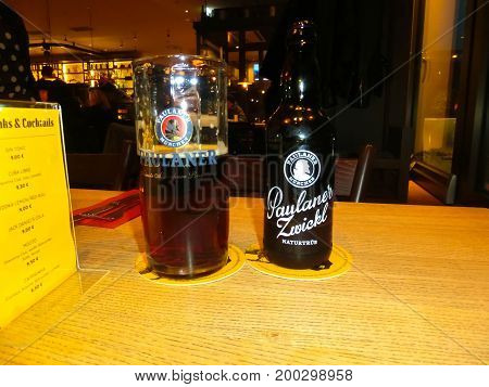 Munich, Germany - May 01, 2017: The interior at Traditional Bavarian restaurant or pub Stubn with beer at Munich, Germany on May 01, 2017