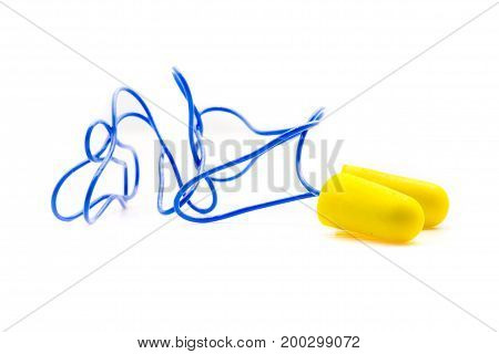 Yellow Earplugs With Blue Band.