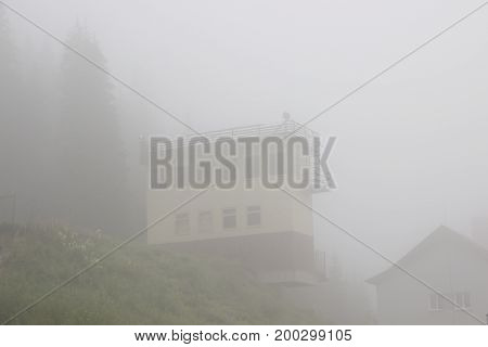 Rescue station in the fog sky bulding