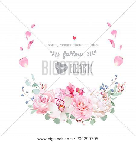 Delicate floral vector round frame with peony, rose, camellia, orchid, hydrangea, eucalyptus on white. Half moon shape bouquet. Pink petals is falling in air. All elements are isolated and editable
