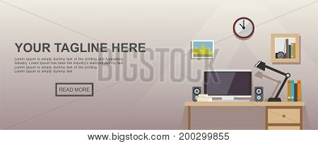 Study place or work place illustration. Banner illustration. Flat design illustration concepts for working place at office,  working place at home.
