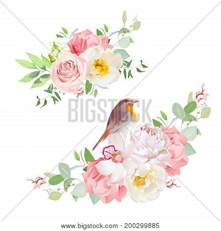 Spring delicate bouquets vector design objects. Peachy rose, white peony, pink carnation, orchid, wild flowers, eucalyptus.Small cute robin bird. Wedding design. All elements are isolated and editable