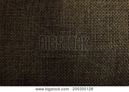 Fabric Texture Close Up of Dark Brown Sack or Burlap Fabric Texture Pattern Background.