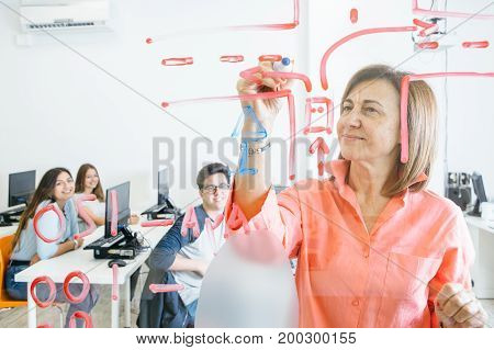View through glass of female teacher drawing colorful draft on board showing material to students.