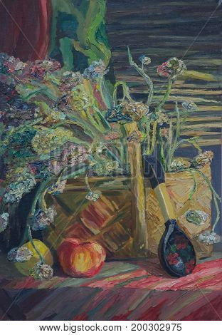 Still life written in oil on canvas. A bouquet of autumn flowers in a basket a black spoon with a painting and an apple