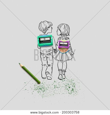 Creative concept photo of two sharpeners and a pencil with illustrated pupils holding hands on grey background.