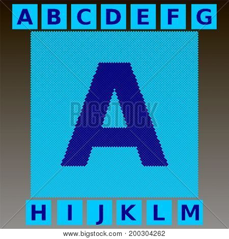 Mosaic blue letters in a cyan mosaic square. Full English alphabet. You can use to animate the effect of scattering parts of the font mosaic. Part 1. Vector.