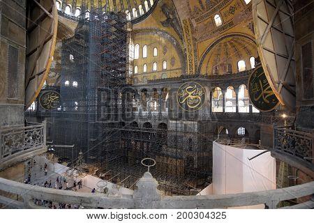 ISTANBUL, TURKEY - AUGUST 06, 2017: The Hagia Sophia, also called Hagia Sofia or Ayasofya  architecture, famous Byzantine landmark and museum in Istanbul, Turkey