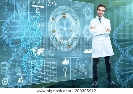 Smiling male doctor with folded arms standing next to digital medical screen. Future medicine and innovation concept. 3D Rendering
