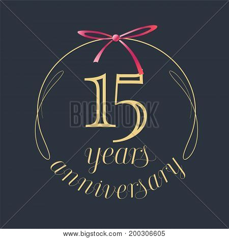 15 years anniversary celebration vector icon logo. Template design element with golden number and red bow for 15th anniversary greeting card