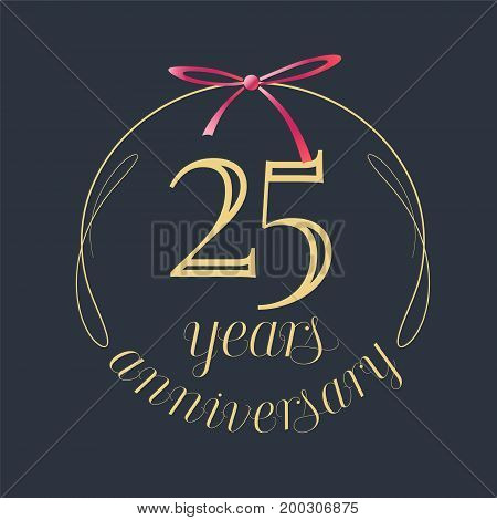 25 years anniversary celebration vector icon logo. Template design element with golden number and red bow for 25th anniversary greeting card