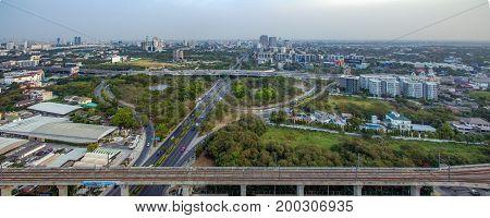 Motorway to Suvarnabhumi Airport Bangkok Srinakarin Road Pattanakarn Aerial Photography